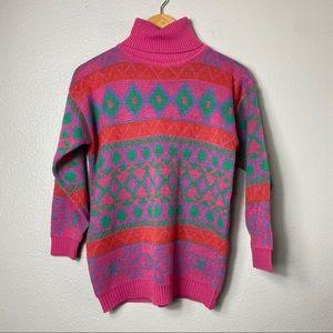 Vintage 80s 90s colorful retro sweater sz medium